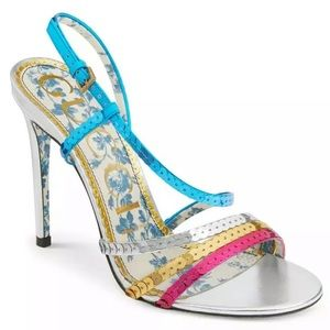 GUCCI Haines Metallic Sequins Slingback Sandals